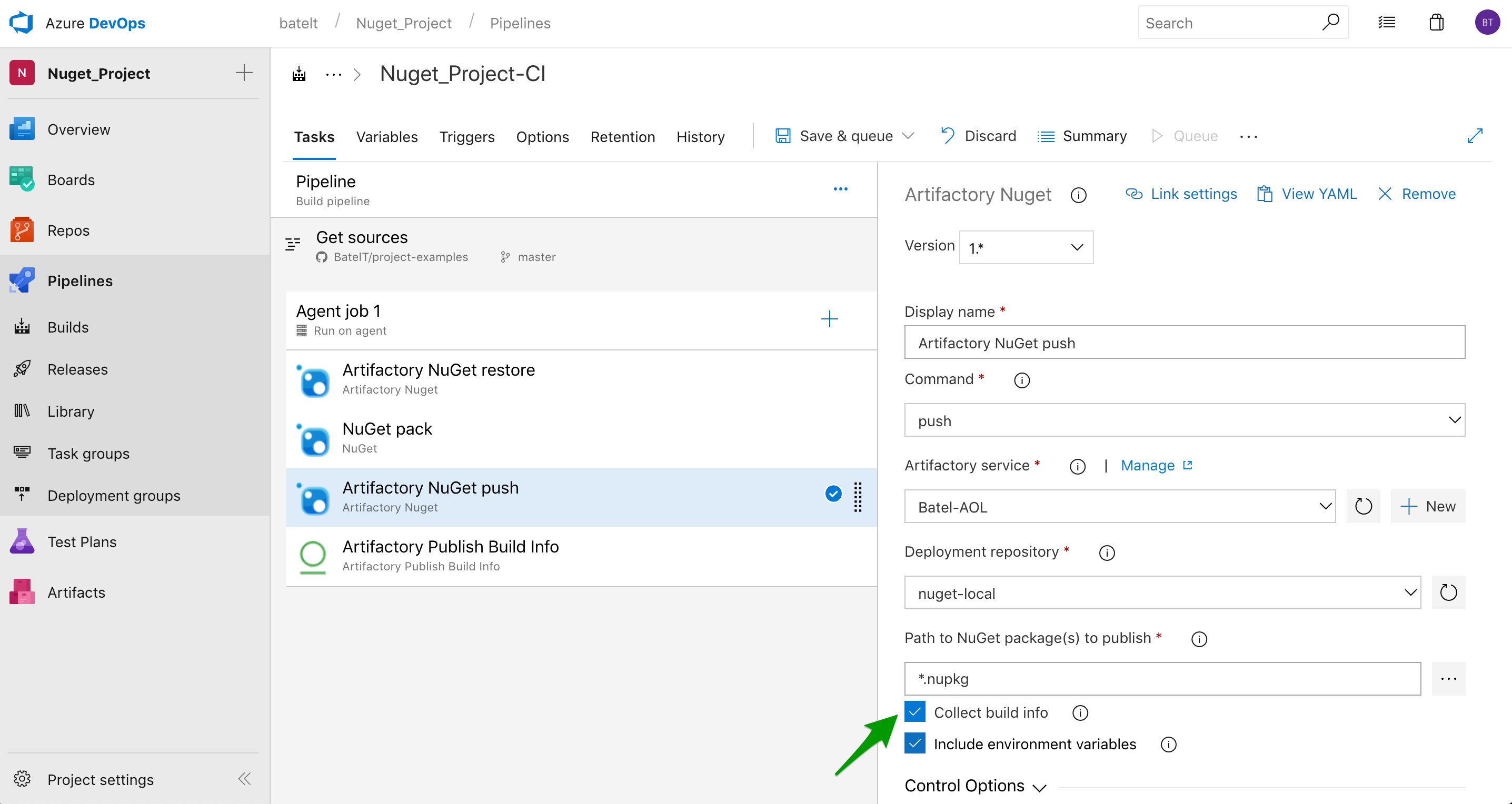configure NuGet task to collect buildinfo 2