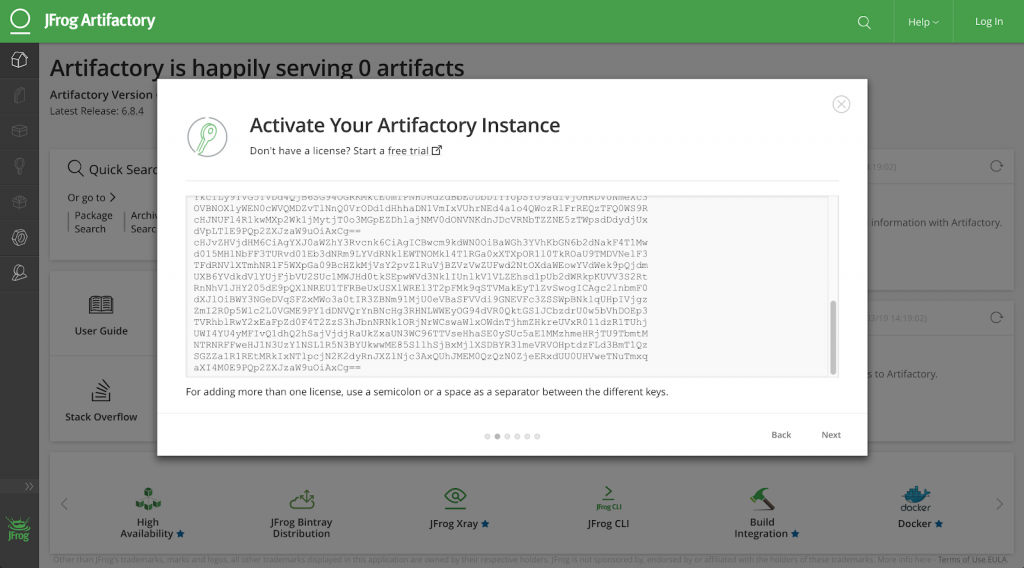 Artifactory Add Licenses
