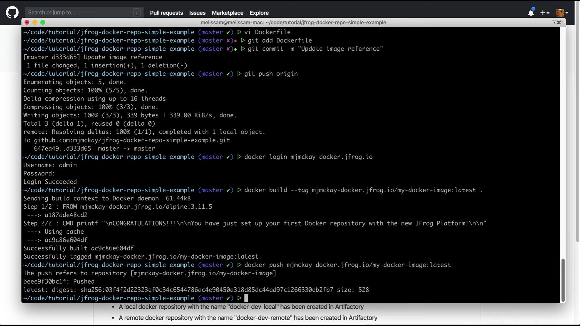 Push custom image to your Docker repository