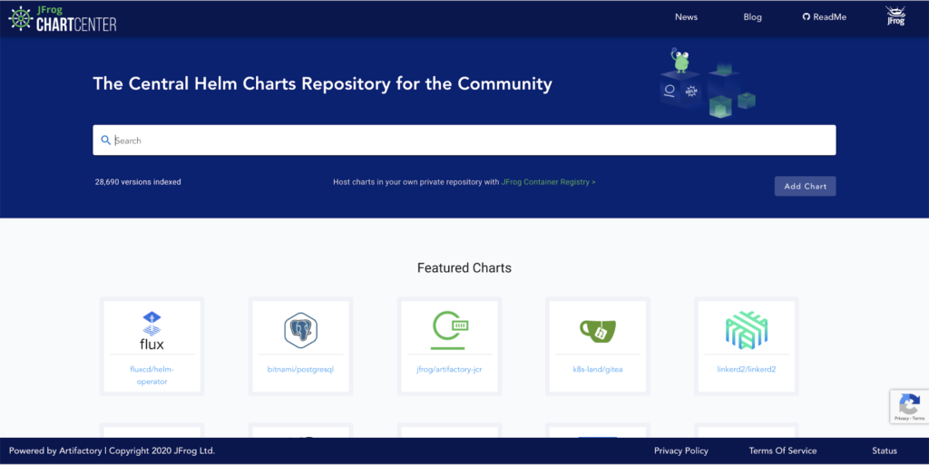 JFrog helm charts repository for the community