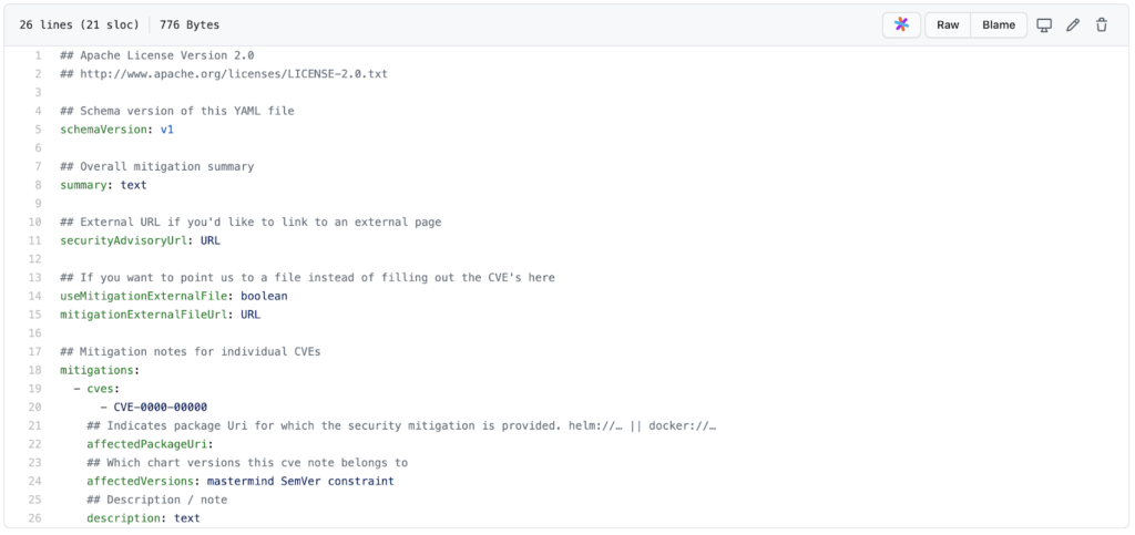 ChartCenter Security Mitigation YAML
