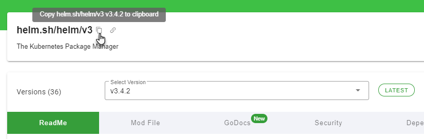 Copy Go module path from JFrog GoCenter