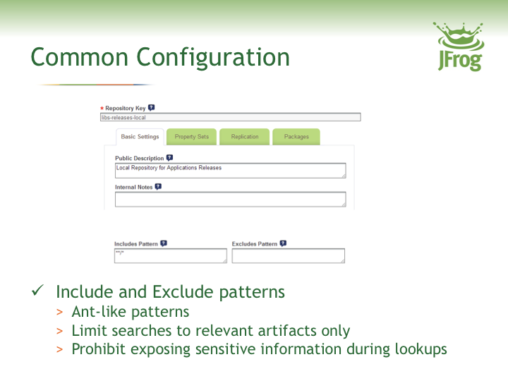 Common Configuration Include and Exclude Patterns with JFrog Artifactory