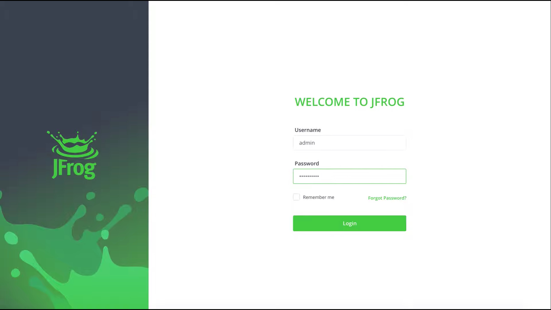 Login to JFrog Platform
