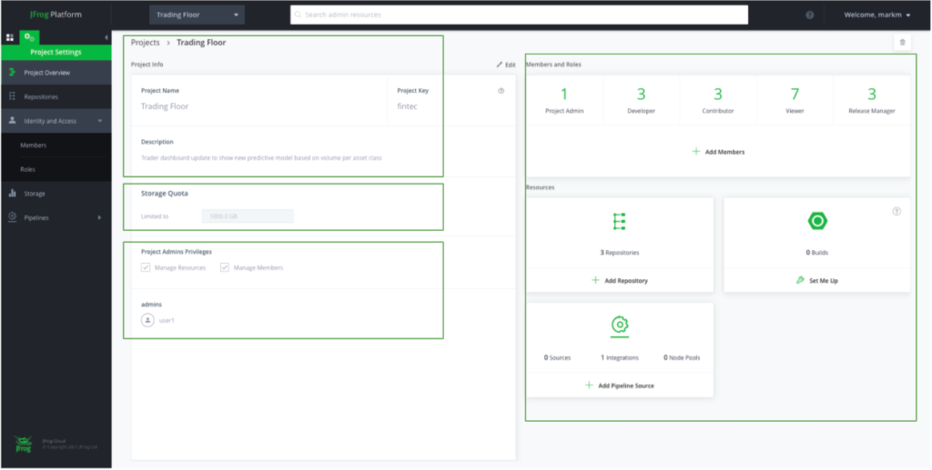 JFrog Platform - Admin View of a New Project