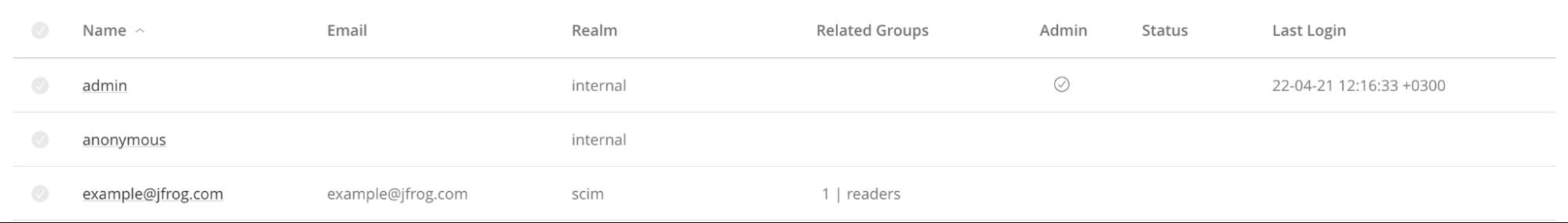JFrog Platform Users page