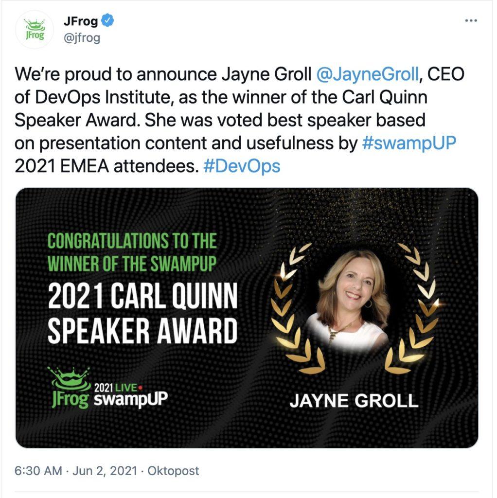Carl Quinn Award Winner Jayne Groll