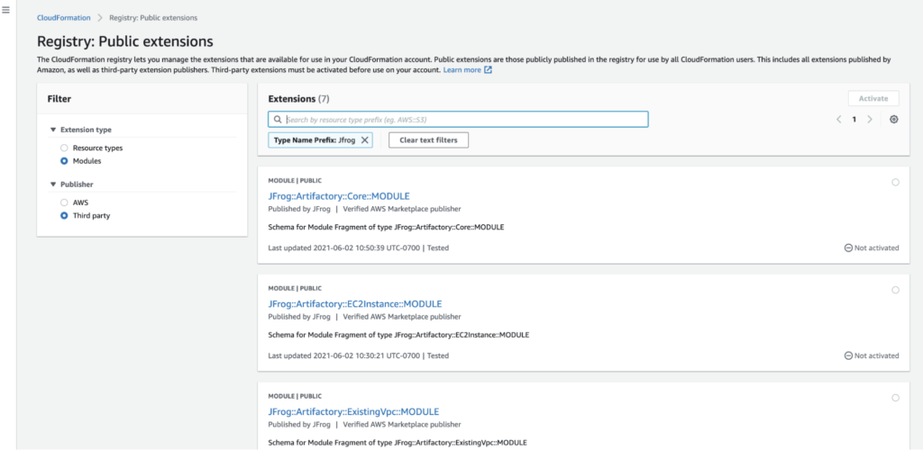 Search for JFrog in the AWS Cloud Formation Registry