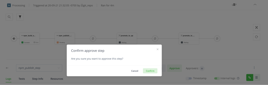 JFrog Pipelines approval gate confirmation